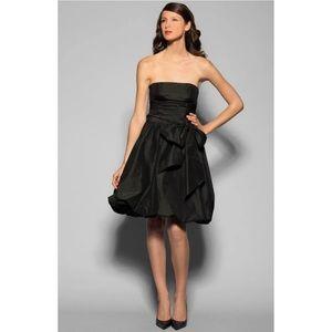 BCBGMaxazria Black Strapless Short Tie Front Dress